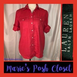 Bright Red Shirt by Ralph Lauren Size M